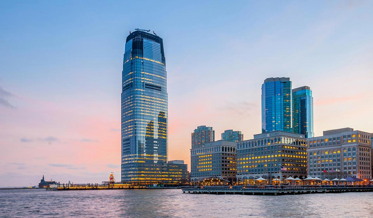 View from Hudson River Waterfront Walkway in Jersey City