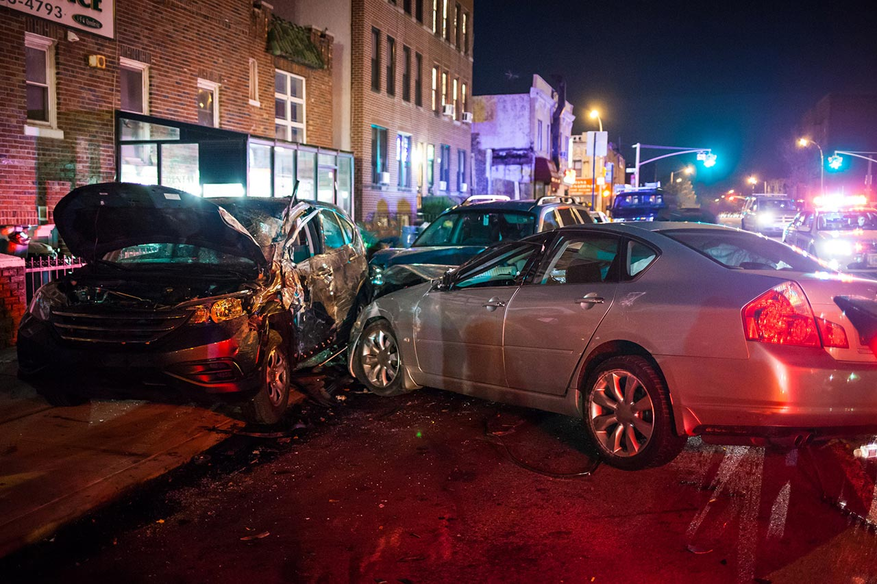 Multiple car crash at night. Vehicular homicide attorney in New Jersey and New York.